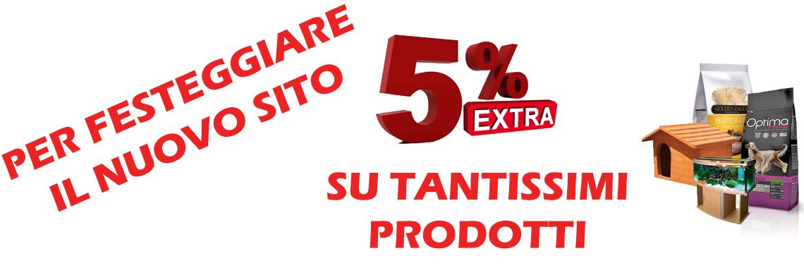 5 percento di sconto su tantissimi prodotti